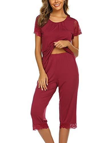 Ekouaer Women's Short Sleeve Capri Pants Pajamas Set Sleepwear Loungewear Wine red Large]()