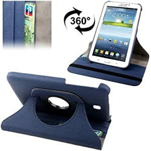 """3 Galaxy Tab ( 7 """") de piel cubierta de la caja de protección ( PU ) Blue rotación de 360 ??°"""