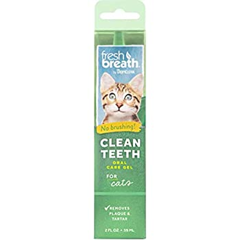 TropiClean Fresh Breath No Brushing Clean Teeth Dental & Oral Care Gel for Cats, 2oz, Made in USA