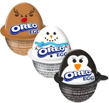 Holiday Oreo Eggs! Creme filled candy with cookie pieces! Pack of 3 (Reindeer, Snowman and Penguin)