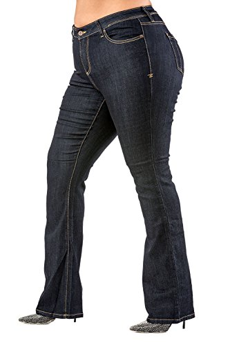 Poetic Justice Plus Size Women's Curvy Fit Stretch Denim Basic Slim Bootcut Jeans (20 x 33Length) (Low Rise Bootcut Stretch Jeans)