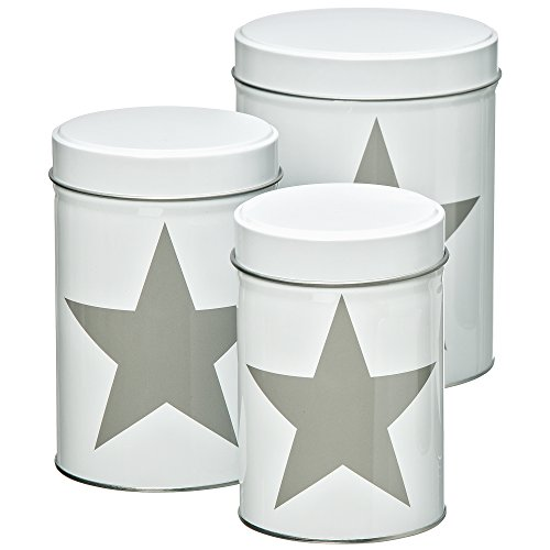 Whole House Worlds The Cape Cod Gray Star, Round White Cookie Canister Tins, Set of 3, Lift off Lids, Assorted Sizes from 3-6 Inches Tall, Food Storage and Organization, - Cookie Jar Tin