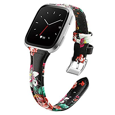 Aottom Compatible for Fitbit Versa Strap for Women Girls Printing Leather Slim Sweatproof Breathable Metal Clasp Bracelet Wristband Replacement Strap for Fitbit Versa Versa Lite Versa Special Edition Estimated Price -