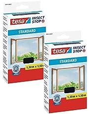 tesa® Insect Stop standaard vliegengaas voor ramen - insectenbescherming op maat te snijden (2-pack - antraciet (doorzichtig), 1,3 m: 1,5 m)