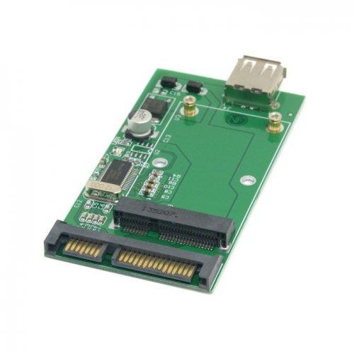 - Combo mSATA Solid State Disk SSD to SATA 22pin & USB 2.0 Hard Disk Case Enclosure PCBA CableCC