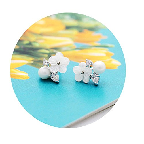 Simulated Charm Pearl (Girl's Sweet Temperament Crystal Flowers Simulated Pearl Charm Clip on Earrings for Teen Girls)