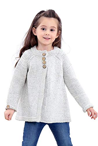Noubeau Baby Little Girls Cute Autumn Winter Button Knitted Sweater Cardigan Warm Thick Coat Jacket Clothes (Gray, 5T(4-5Years)) ()