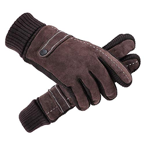 (Men's Gloves Riding Leather Gloves Outdoor Sports Gloves Winter Warm Thick Cold Cotton Gloves QYLOZ (Color : Brass))