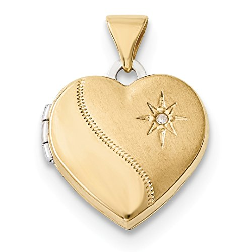 ICE CARATS 14kt Two Tone Yellow Gold 15mm Reversible Diamond Heart Photo Pendant Charm Locket Chain Necklace That Holds Pictures Fine Jewelry Ideal Gifts For Women Gift Set From - Necklace Two Tone Heart Locket