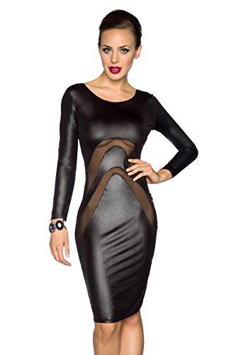 Schwarzes Wetlook Kleid Mit Netzausschnitt Langarmlig Und Tiefem