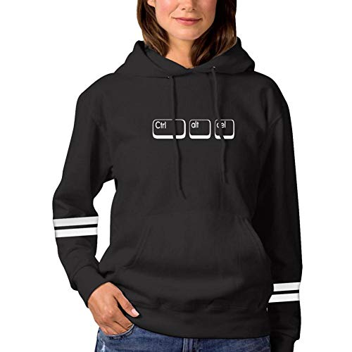 (3D Ctrl Alt Del Print Graffiti Women's Personality Fun Long-Sleeved Hooded Sweatshirt Tops Pullover Black)