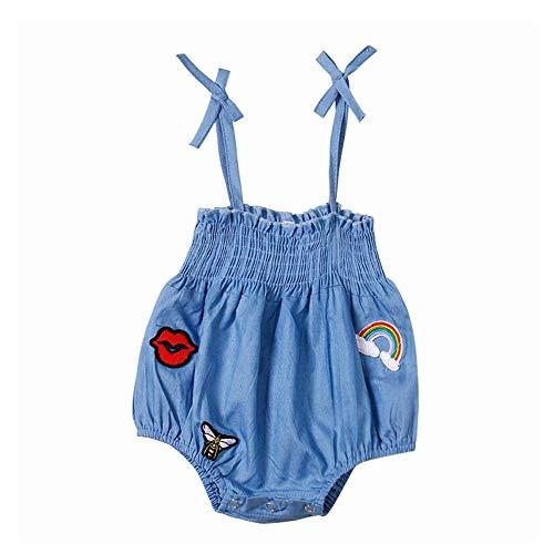 Diufon 2019 New Newborn Infant Baby Girl Clothes Bodysuit Sleeveless Sling Denim Applique Jumpsuit Romper Beach Sunsuit Set (3-6 Months, Blue)