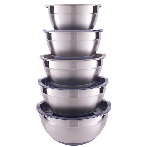 - Set of 5 Nesting Stainless Steel Mixing Bowl Set with Non-Slip Silicone Bottom and Lids - Multicolor Durable and Dishwasher Safe