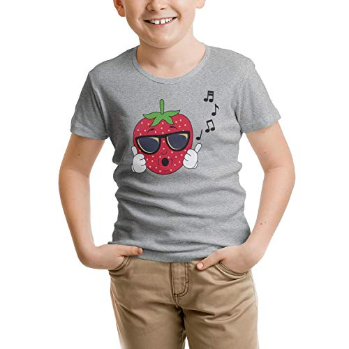 (Wankens Cool Strawberry Music Unisex Kids Tshirt Cotton Short Sleeve Breathable)