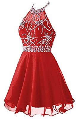 Topdress Women's Short Beaded Prom Dress Halter Homecoming Dress Backless