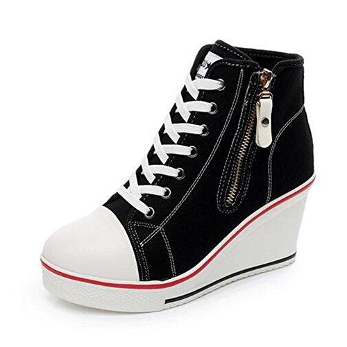otoño Zapatos Caminar Negro Tamaño Lona Zapatillas De Exteriores Para Cordones 42 Casual Deporte Primavera Mujer color Cuña Con Tacón cremallera YYgqrxR
