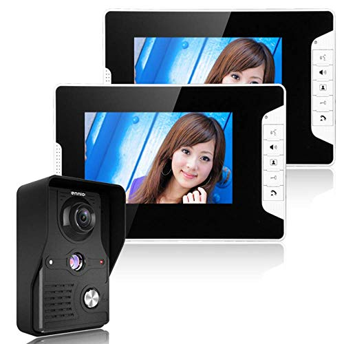 Hongsheng Wireless WiFi Smart Doorbell, 7-Inch Video Intercom Doorbell System, 2 Cameras, 1 Monitor, Buttons, Waterproof, Night Vision Function, 16 Types of Ringtones