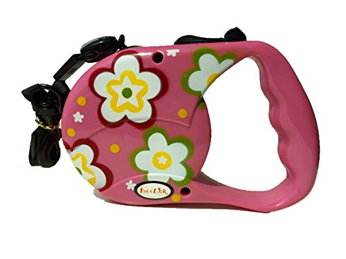 Reelok Pink Beautiful Flower Patterns Automatic Retractable Durable Heavy Duty High Quality Super Strength Dog Pet Cord Leash Safe Walk 16 feet 5 ()