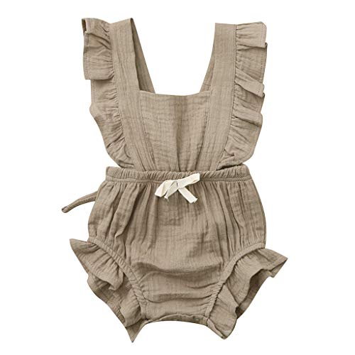 WOCACHI Toddler Baby Girls Clothes, Newborn Infant Baby Girls Color Solid Ruffles Backcross Romper Bodysuit Outfits 2pcs 3pcs Footies Outfit Onesies 0-24 Months 2-8 Years Playsuits Tutu Princess]()
