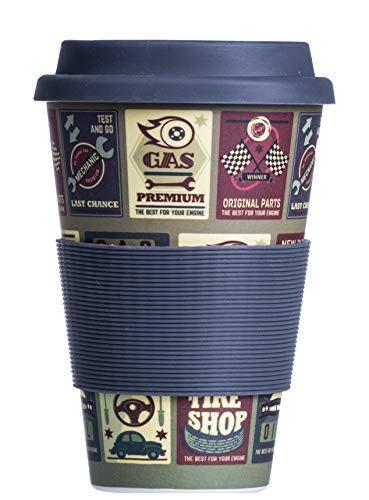 Coppa Eco in bamb/ù Bamboo Cup Tazza di caff/è Riutilizzabile Coperchio e Manicotto in Silicone 400 ml sicura per Alimenti e rispettosa dellambiente Lavabile in lavastoviglie