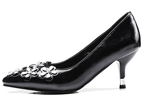 YCMDM Donne con tacco alto a forma di fiore piccole Codice grande Scarpe basse della bocca scarpe da appuntamento Scarpe di Charme Scarpe da Corte , black , 34
