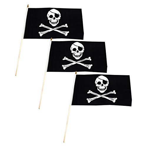Pirate - Jolly Roger - Flag 12x18 inch Stick Flag (3 (Pirate Jolly Roger Flag)
