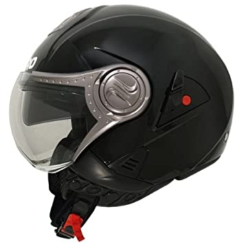SHIRO SH-80 NAKED - Casco para moto (doble pantalla), color negro