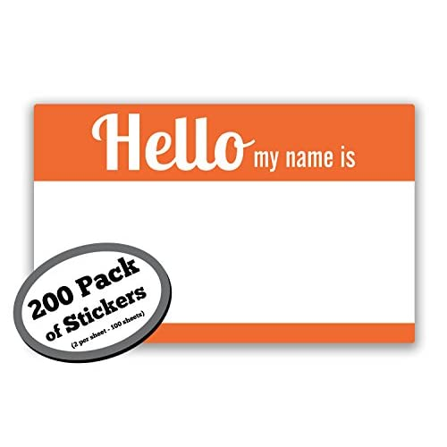 "Cheap 200 Pack of Orange ""Hello My Name Is"" Stickers. Adhesive tested & lasts full day. Name Tag Labels are 3.5 by 2.25 in. Badges great for kids, employees, reunions, professionals, parties,events. free shipping"