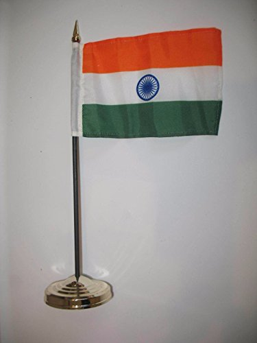 "India 4""x6"" Flag Desk Set Table Stick Gold Base"