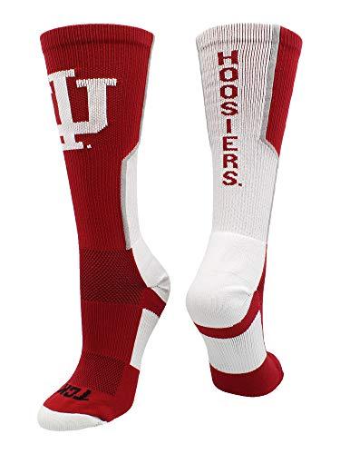 TCK Indiana Hoosiers Perimeter Crew Socks (Crimson/Cream/Grey, Small)