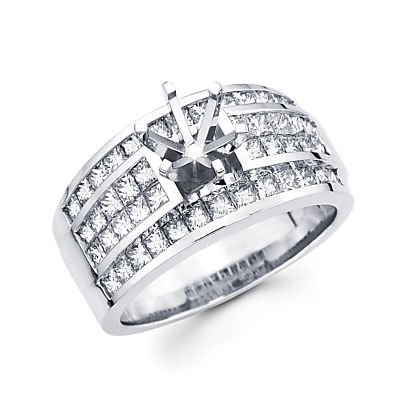 Womens Diamond Semi Mount (Size- 5.5 - 2.3ct Large 14k White Gold Channel Set Princess Cut Diamond Engagement Semi Mount Ring)
