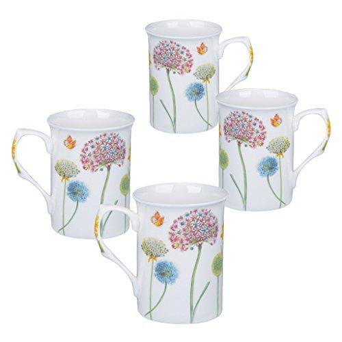 Bone China Mug Set - Gracie Bone China Mug Set of 4 (10-Ounce, Snowball Floral)