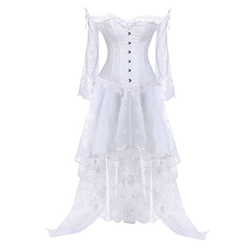 Corsets for Women's Princess Renaissance Corset Lace Ruched Sleeves Elegant Overbust Top Small White