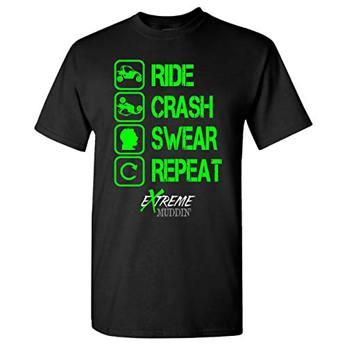 Extreme Muddin Ride Crash Swear Repeat on a Black T Shirt - Small