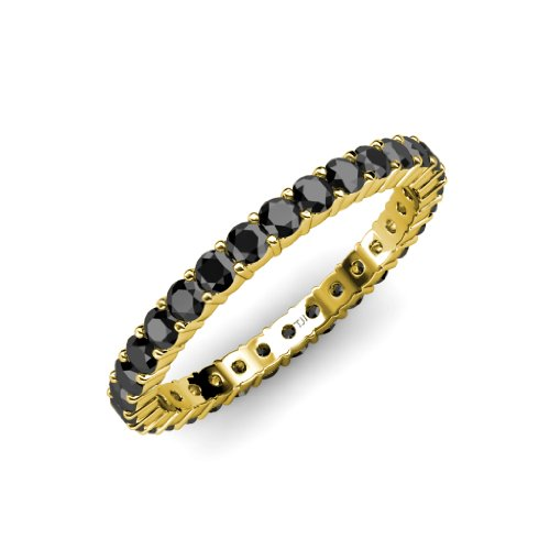 Black Diamond Common Prong Eternity Band 1.09 ct tw to 1.28 ct tw in 14K Yellow Gold.size - Eternity Black Bands Diamond Gold Yellow
