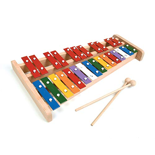Professional Wooden Soprano Full Size Glockenspiel Xylophone with 27 Metal Keys for Adults & Kids