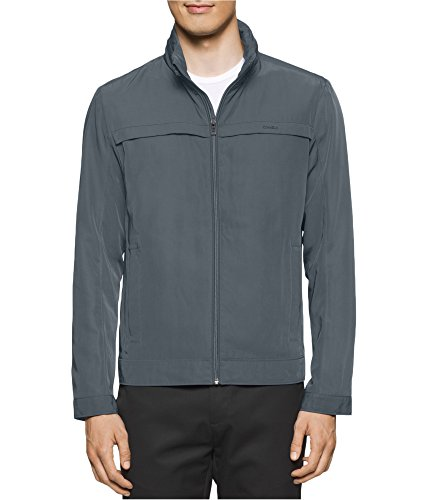 Calvin Klein Men's Poly Twill Jacket With Hidden Hood, Quiet Shade, X-Large (Lightweights Lightweights Collection Shade)