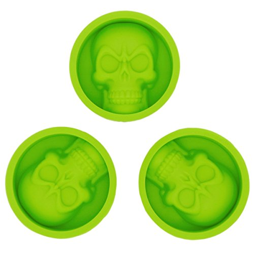 Soap Molds Wholesale (KAIL 3 Pcs Reusable Silicone Skull Baking Cups -Cupcake Liners -Muffin Cups Chocolate Soap Candle Tray Cake Mold For Party)