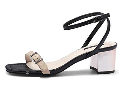 Sandals ZCJB Open-toed Shoes Summer Word Buckle Coarse Heel Female Black Career High Heels Wild (Size : 35) t1Z0W4