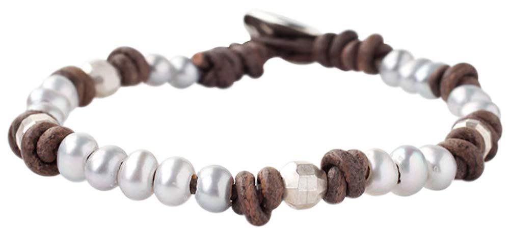Chan Luu Women's Pearl and Leather Single Wrap Bracelet Grey Pearl One Size