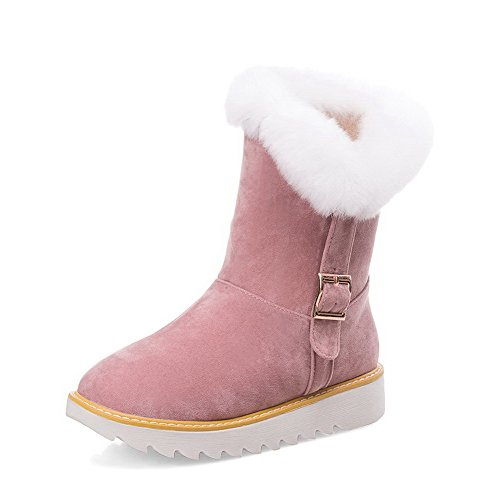 AmoonyFashion Womens Low-Heels Frosted Solid Pull-On Round Closed Toe Boots Pink 9hVgd2fG