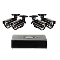 Swann Security Camera System, 8 Channel High Resolution DVR with 4 x 960H Weatherproof Aluminum Surveillance Cameras, Motion Detection day/night, HDMI & VGA output, Smartphone Viewing (SWDVK-8ALP14)