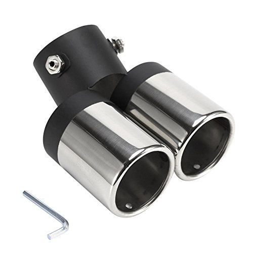 60mm Universal Car Exhaust Muffler Pipe End Tip- Stainless Steel Car Round Mouth Double-tube Tail Pipe ()