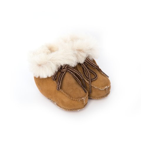 Sheepskin Baby Booties (Bebebene - Handmade in Mallorca, Spain Sheepskin Baby Booties - 3-6months - Cognac)