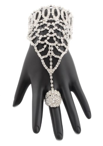 Silvertone Iced Out Charmed Adjustable Finger Ring Full Covering Hand Chain Bracelet