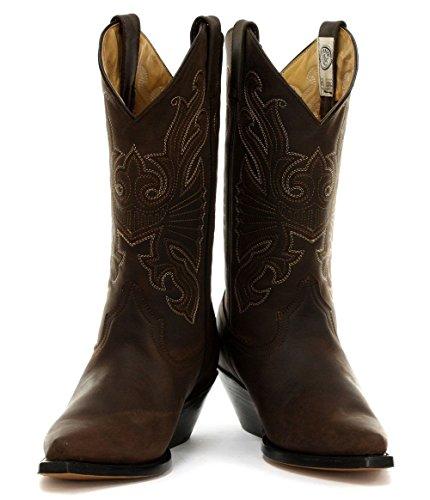 GRINDERS Buffalo Herren Braun Leder Cowboy Stiefel Motorradfahrer Westernstiefel Unisex