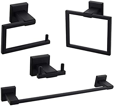 GERZWY Bathroom Hardware Set 2 Piece Black Towel Ring and Towel Bar SUS 304 Stainless Steel Wall Mounted Matte Black