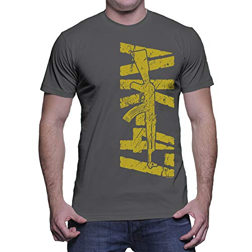 HAASE UNLIMITED Men's Gold AK-47 T-Shirt (Charcoal, Large)