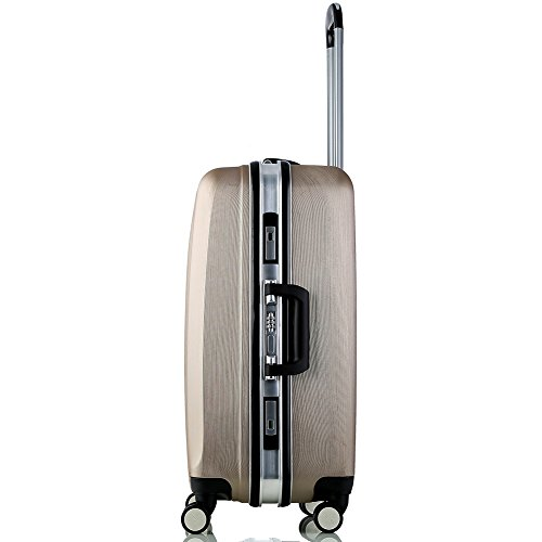 Lightweight Luggage Sets Glossy Trolley Case Suitcase Sets Hard Slide Spinner Expandable Luggage Bag for Travel and Business (20'', 24'') TSA, Gold by WELOVE (Image #4)