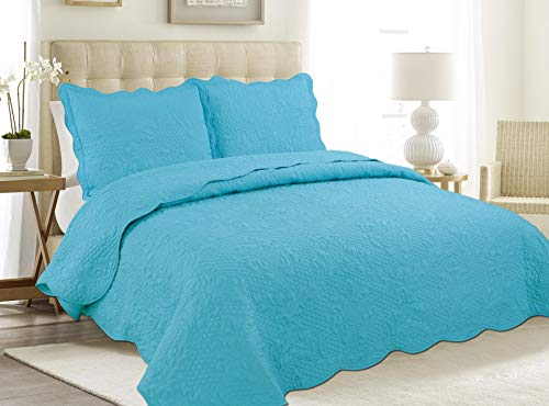 "ALL FOR YOU 3pc Reversible Bedspread, Coverlet,Quilt Set- Turquoise (Twin 68""x86"")"